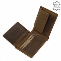 A natúr barna színű, vadász férfi pénztárca anyaga minőségi valódi marhabőr, mely a bőr természetes hatásával különlegességnek számít.