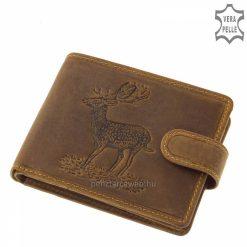Rusztikus jellegű minőségi vadász bőr pénztárca férfi vásárlóink számára, melynek barna fedelét szarvas mintával díszítettük.