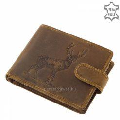 Természetes karakterű minőségi marhabőrből gyártott GreenDeed vadász férfi bőr pénztárca szarvas mintás fedéllel, barna színben.