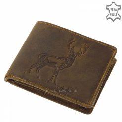 Valódi marhabőrből készült, vintage barna, vadász férfi bőr pénztárca a GreenDeed kollekció egyik legújabb mintával díszített darabja.