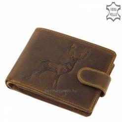 Díszdobozos, minőségi marhabőrből gyártott vadász férfi bőr pénztárca melynek barna fedelén szarvas mintás benyomás látható.