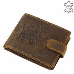 Minőségi marhabőrből gyártott vadász férfi bőr pénztárca, melynek barna színű fedele egyedi medve mintával lett díszítve.