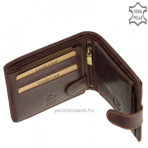 Vintage jellegű, valódi marhabőr felhasználásávalkészült sportos vadászférfi bőr pénztárca pirosas barna színben, díszdobozban.