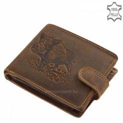 Igazi válogatott bőr felhasználásával gyártott, vintage stílusú, barna színű vadász férfi pénztárca vera pelle rusztikus bőrből.
