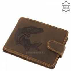 Természetes karakterű valódi bőr alkalmazásával gyártott GreenDeed horgász férfi pénztárca csuka mintával fedelén barna színben