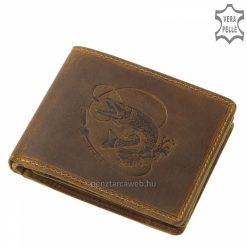 Rusztikus jellegű, barna színű, egyedi horgász mintával díszített bőr pénztárca férfi vásárlóink számára, valódi minőségi bőrből készült.