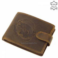 Természetes kikészítésű, minőségi marhabőrből készített, barna horgász bőr férfi pénztárca, melynek fedelén csuka mintás benyomás látható.