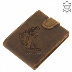 Horgász mintás, barna színű GreenDeed férfi bőr pénztárca, kiváló minőségű, természetes karakterű marhabőrből gyártva.