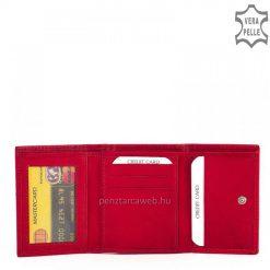 Minőségi, valódi nappa bőrből készült kis méretű női bőr pénztárca, melynek piros fedele patenttal záródik, rajta La Scala márkajelzés.