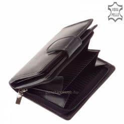 Kifogástalan minőségű marhabőrből készült elegáns fekete színű kisméretű női bőr pénztárca termék, ízléses kiegészítőkkel.