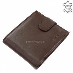 Minőségi bőr férfi pénztárca, hagyományos aprópénztartóval barna színben, mely finom tapintású valódi marha nappa bőrből lett gyártva.