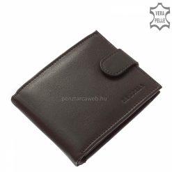 Valódi minőségi bőrből készült aprópénz tartós és kártyatartós funkcióval ellátott férfi bőr pénztárca fekete színben klasszikus stílusban.