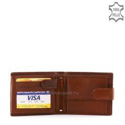 La Scala márkajelzésű valódi goat nappa bőrből előállított férfi bőr pénztárca klasszikus barna színben biztonságos átkapcsolóval.