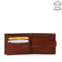 La Scala márkajelzésű, kis méretű férfi bőr pénztárca valódi minőségi goat nappa típusú bőrből készült barna színben. Patentos átkapcsolóval.
