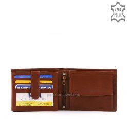 cala márkajelzésű, kis méretű, klasszikus férfi bőr pénztárca, kiváló minőségű, igazi goat nappa bőrből ízléses barna színben.