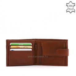 La Scala márkajelzésű férfi bőr pénztárca valódi goat nappa típusú bőrből készült klasszikus barna színben külső átkapcsolóval.