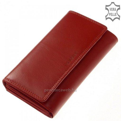 Prémium minőségű klasszikus bőrből készült, LA SCALA bőrbe nyomott elegáns logós fedéllel tervezett, nagy méretű piros női pénztárca.