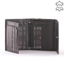 La Scala márkajelzésű kis méretű, divatos női bőr pénztárca minőségi bőrből gyártva, igazán elegáns fekete színben. Fedelén patenttal.