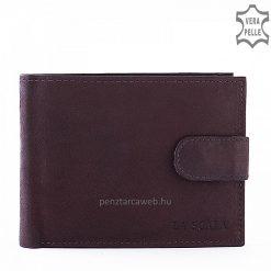 Igazi puha bőrből készült barna színű férfi bőr pénztárca, minőségi gyártással készült, kártyatartóval ellátott modellünk.