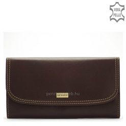 LA SCALA elegáns fém logós női bőr pénztárca kiváló, minőségi és tartós bőrből készítve, barna színben. Négy darab papírpénztartóval.