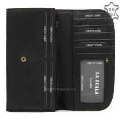 LA SCALA elegáns fém logós női bőr pénztárca kiváló, minőségi és tartós bőrből készítve, fekete színben. Négy darab papírpénztartóval.