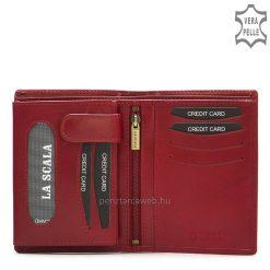 Elegáns LA SCALA márkás, fém logós piros női irattartó bőr pénztárca, valódi marha bőrből készült, amelyet magas gyártási minőség jellemez.