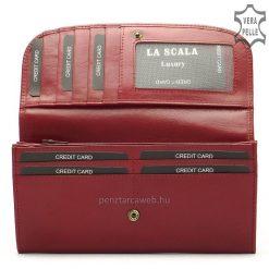LA SCALA elegáns fém logós női bőr pénztárca kiváló, minőségi és tartós bőrből készítve, piros színben. Négy darab papírpénztartóval.