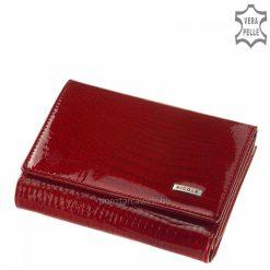 Kis méretű NICOLE márkájú mintás lakk bőr női pénztárca, amely kiváló minőségű valódi bőrből készült, divatos piros színben. Díszdobozban!