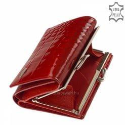 Kis méretű NICOLE márkájú mintás női pénztárca piros lakk bőr külsővel, amely kiváló minőségű valódi bőrből készült.