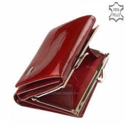 NICOLE márkájú, prémium női pénztárca, amely kiváló minőségű lakk bőr felülettel készült exkluzív croco mintás piros színben.