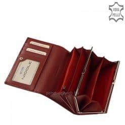 NICOLE márkájú divatos piros színű, fényes lakkozott női bőr pénztárca dekoratív díszdobozba csomagolva, amely így ajándékba is kiváló.