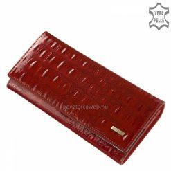 Nagyméretű, exkluzív croco díszítéssel tettük különlegesebbé ezt a piros színben gyártott, prémium minőségű női bőr pénztárca modellünket.