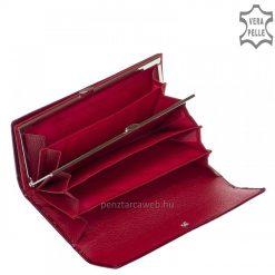Fényes crocoexkluzív női bőr pénztárca piros színben, fedelén kiemelkedő fém NICOLE logoval, mely prémium márkacsaládunk.