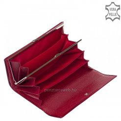 Fényes crocomintás, prémium kategóriás, díszdobozos nagyméretű női lakk bőr pénztárca, piros fedelén kiemelkedő fém NICOLE logoval.