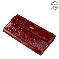 Fényes crocoexkluzív, prémium kategóriás, díszdobozos női bőr pénztárca, piros fedelén kiemelkedő fém NICOLE logoval.