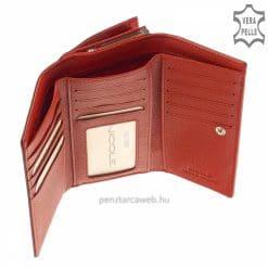 Magas minőségű, NICOLE prémium márkájú, piros színű női bőr pénztárca krokodil mintával, amely valódi bőrből készült. Díszdobozos kivitelben