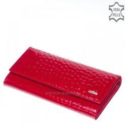 Fényes, minőségi croco bőrbőlkészültexkluzív női divat pénztárca, piros fedelén kiemelkedő fém NICOLE márkás logo.Díszdobozos pénztárca.