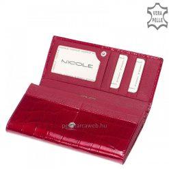 Fényes piros croco mintás bőrbőlkészültexkluzív nagy méretű női lakk bőr pénztárca.Fedelén kiemelkedő fém NICOLE logo.