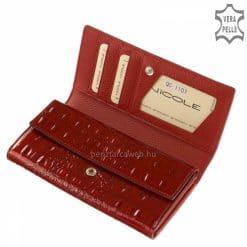 Nagy méretű minőségi női bőr pénztárca piros lakk fedelén kiemelkedő nagyon elegáns fém NICOLE márkajelzéssel. Díszdobozos termékünk!