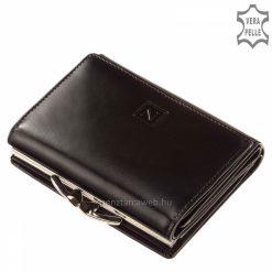 Helytakarékos, minőségi tervezésű, fekete női bőr pénztárca az elegáns Nicole márkanévvel a fedelén, melyet patenttal tudunk zárni.