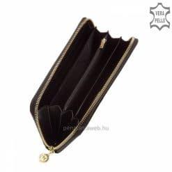 Nagy méretű exkluzív selyemfényű női bőr pénztárca fekete színben, fedelén benyomott díszítéssel, körbe cipzáras zárással.