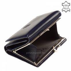 Helytakarékos, minőségi tervezésű, kék női bőr pénztárca az elegáns Nicole márkanévvel a fedelén, melyet patenttal tudunk zárni.