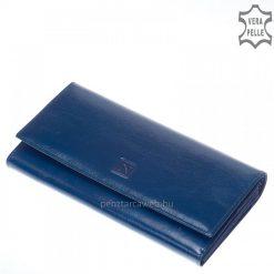 Selyemfényű bőrből készült fényes kék felületű nagy méretű női bőr pénztárca, fedelén klasszikus benyomott Nicole márkajelzéssel.