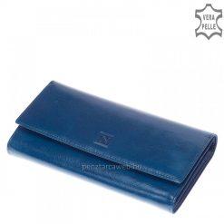 Selyemfényű bőrből kék színben készült minőségi női bőr pénztárca, fedelén klasszikus hatású benyomott márkajelzéssel.