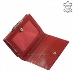 Helytakarékos, minőségi tervezésű, meggy piros női bőr pénztárca az elegáns Nicole márkanévvel a fedelén, melyet patenttal tudunk zárni.