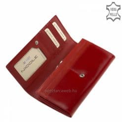 Selyemfényű bőrből piros színben készült, kiváló minőségű nagy méretű női bőr pénztárca, fedelén elegáns hatású benyomott márkajelzéssel.