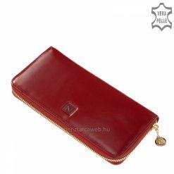 Nagyméretű exkluzív selyemfényű női bőr pénztárca meggy piros színben, fedelén benyomott díszítéssel, körbe cipzáras zárással.