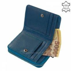 Praktikus kialakítású, kis méretű igazán egyedi és divatos megjelenésű női bőr pénztárca valódi bőrből kék színben. Díszdobozban küldjük!