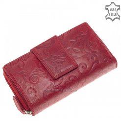 Különleges hatású, fényes marhabőrből készült nagyméretű női bőr pénztárca pink színben, felületén dekoratív virág mintával.