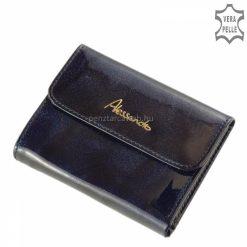 Kisebb táskában is hordható, praktikus méretű Alessandro Paoli divatos kék színű női bőr pénztárca, dekoratív és elegáns lakkbőr külsővel.